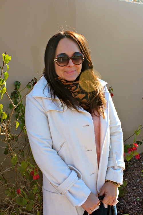leopard scarf, vintage dior sunglasses, winter white coat