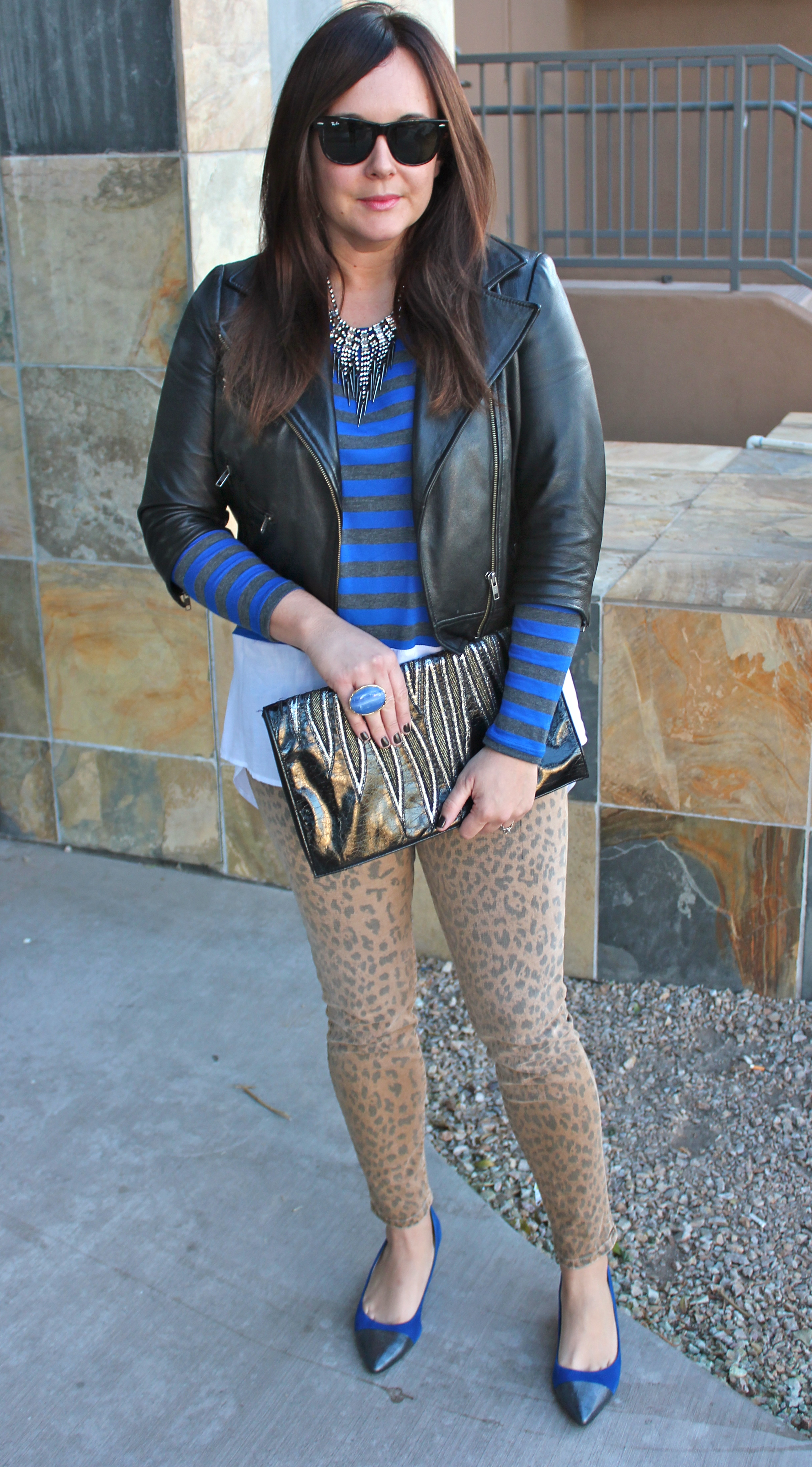 leopard jeans and leather