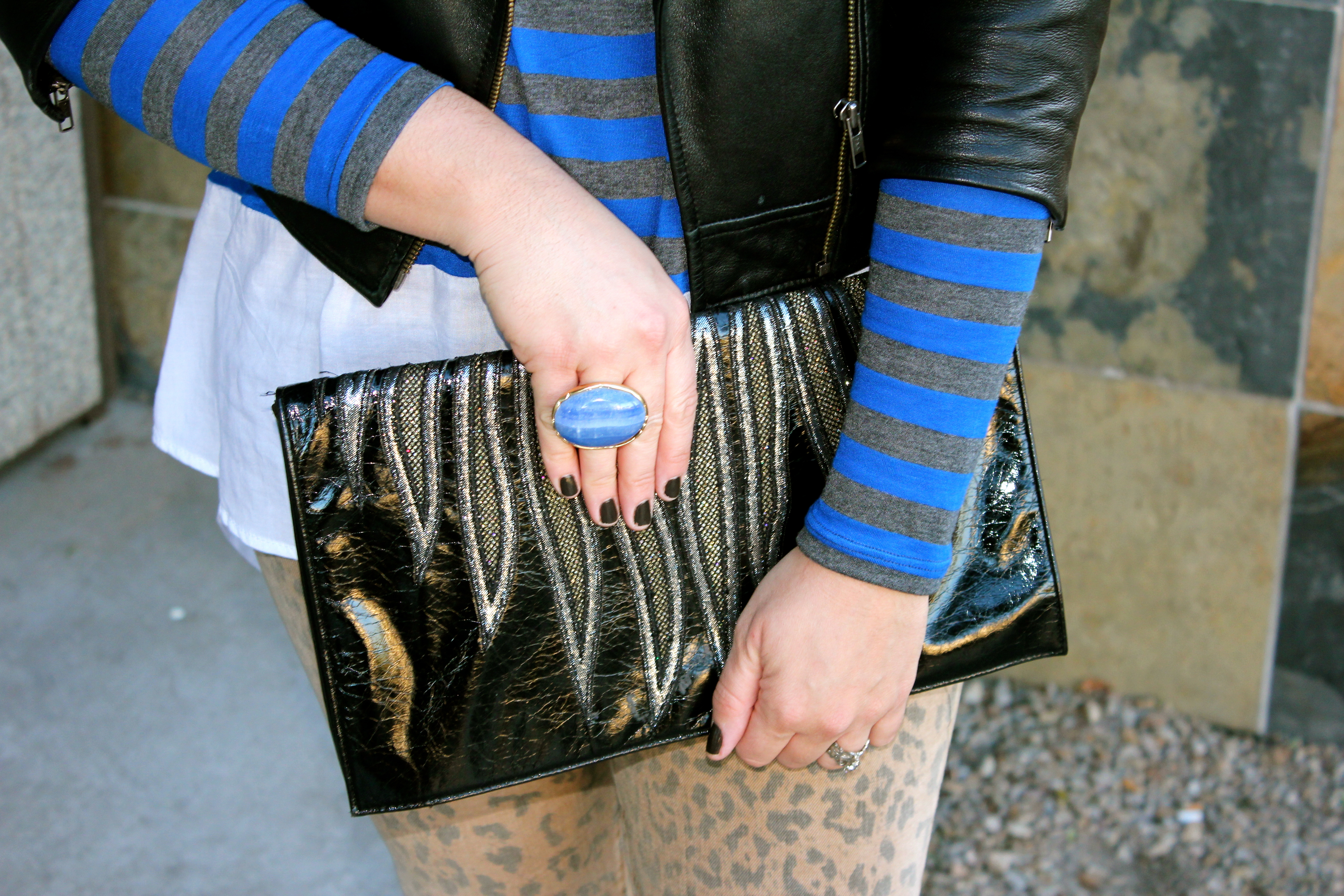 french connection clutch, stripes and leopard