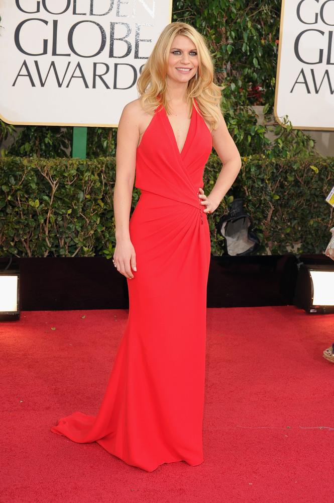 Blonde hair red dress