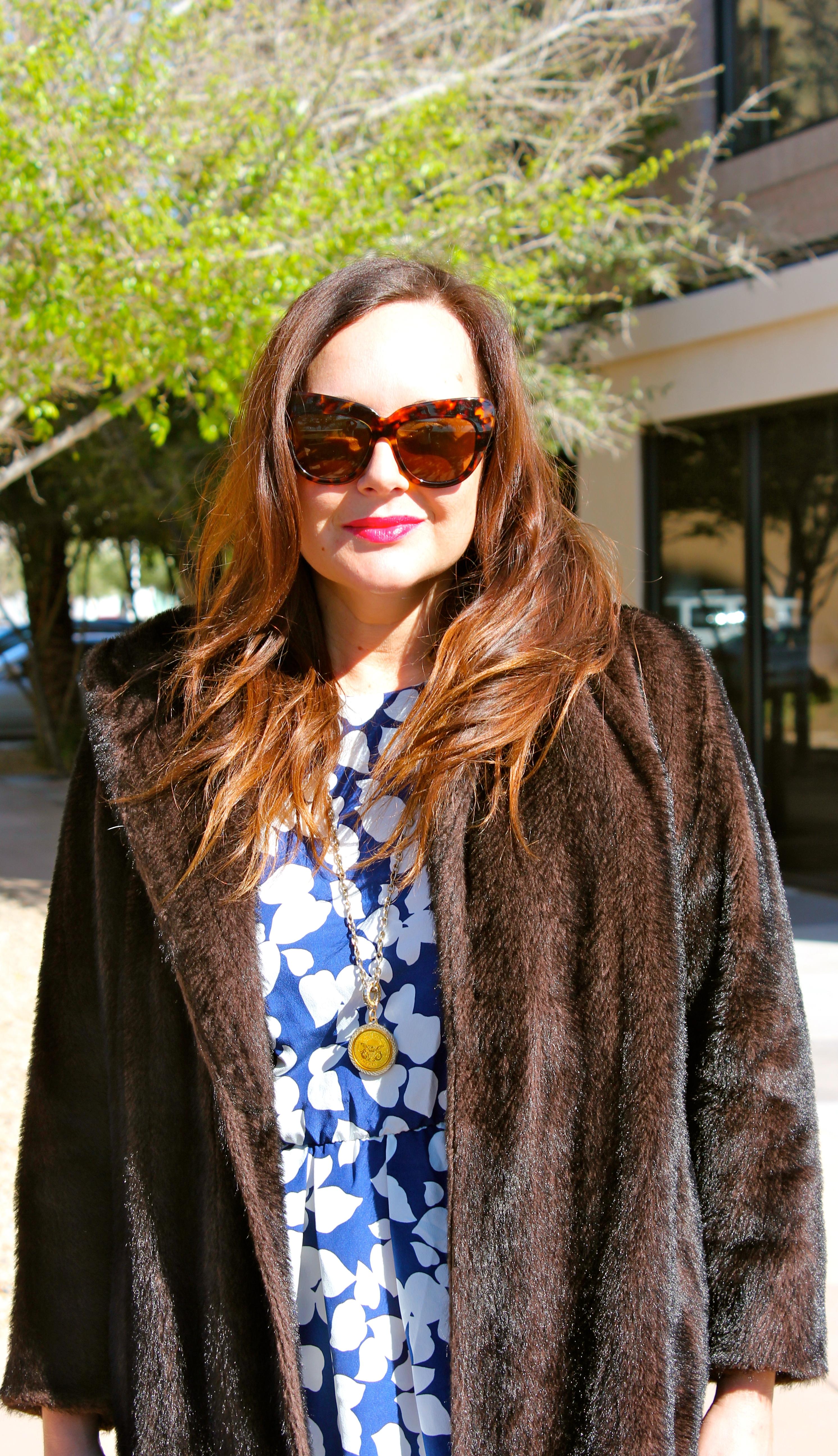 vintage fur, vintage dress