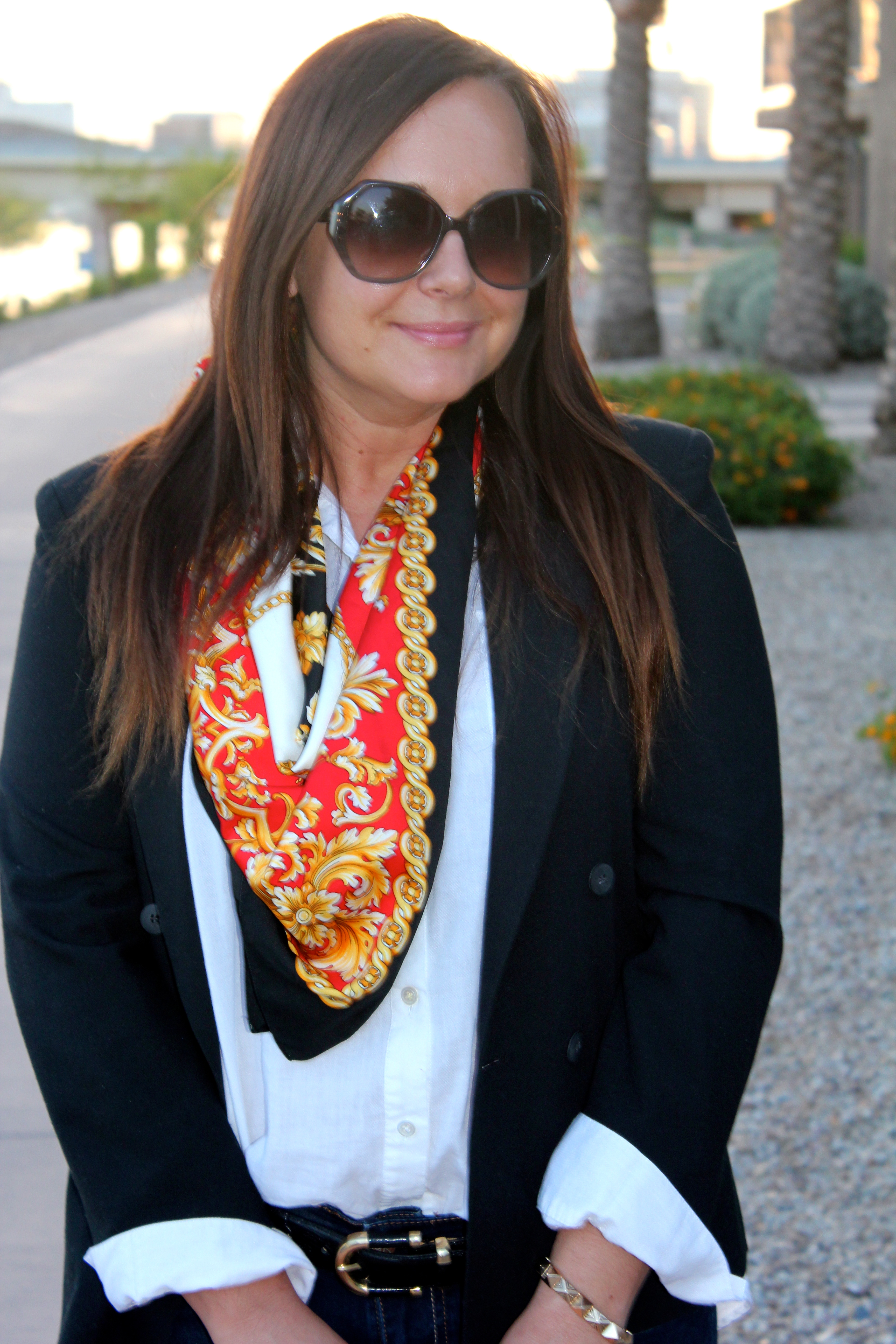 kate spade sunglasses, vintage scarf