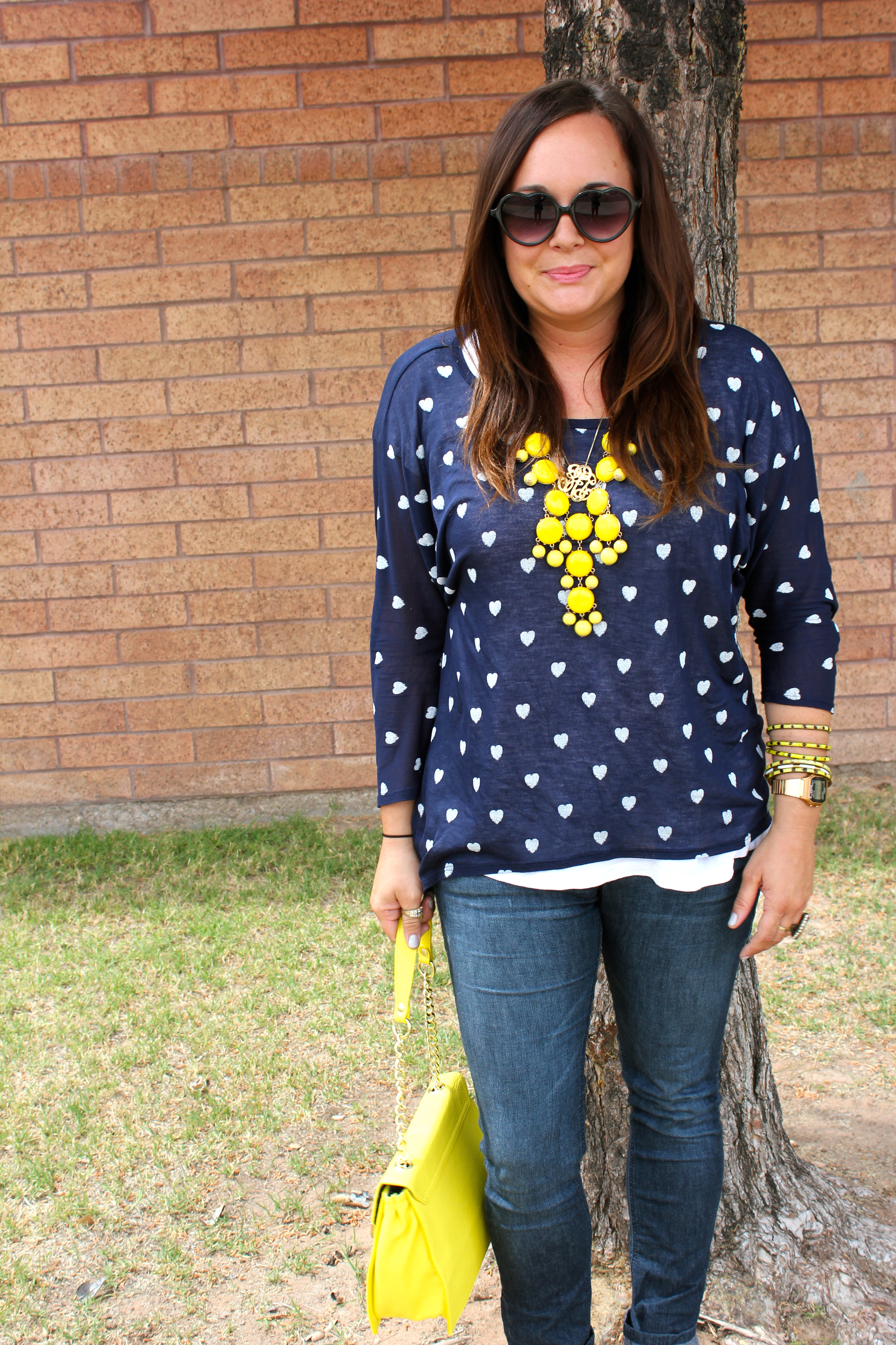 juicy couture heart sunglasses, big star blouse, yellow bauble, h&m oxfords