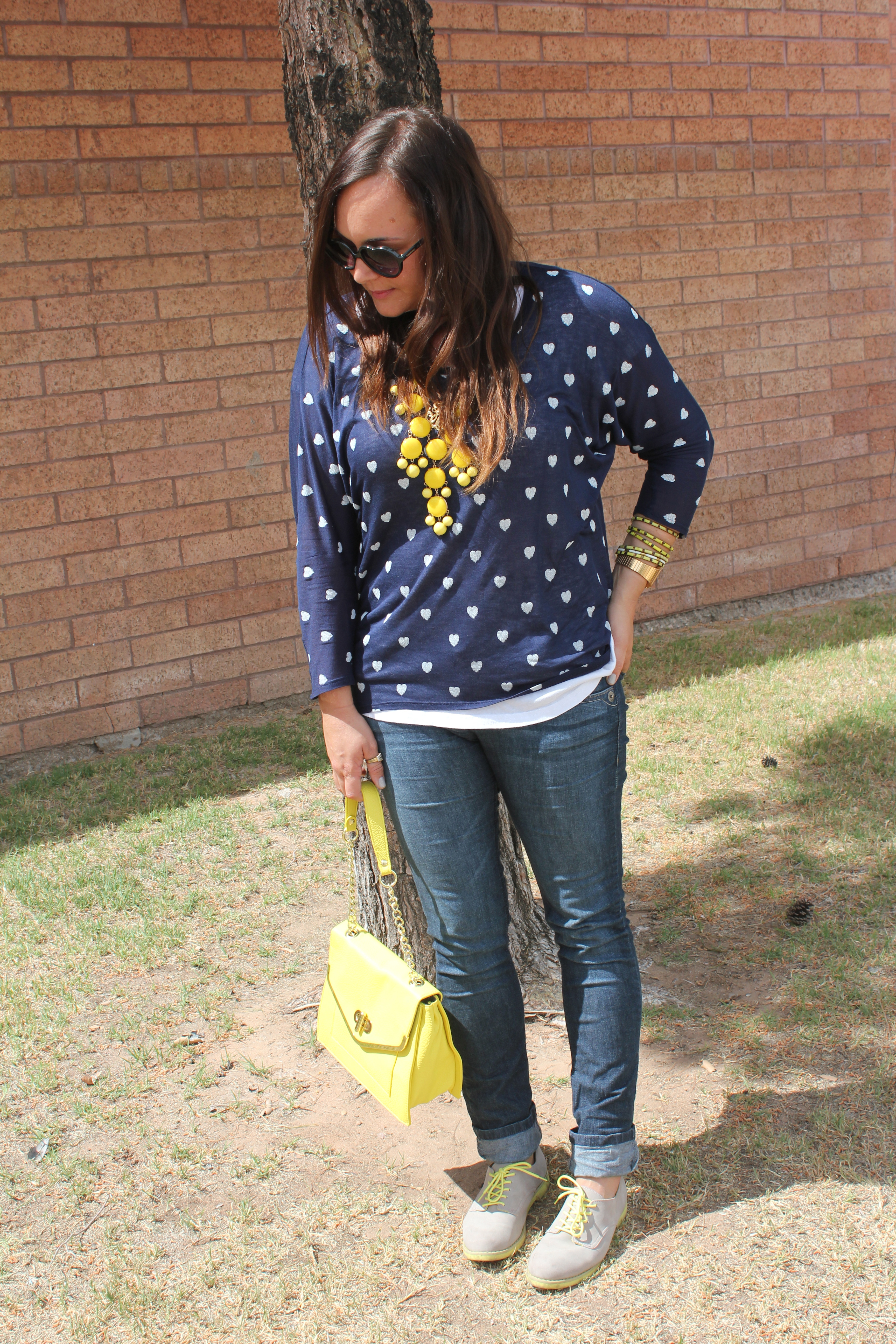 big star heart shirt, yellow bauble