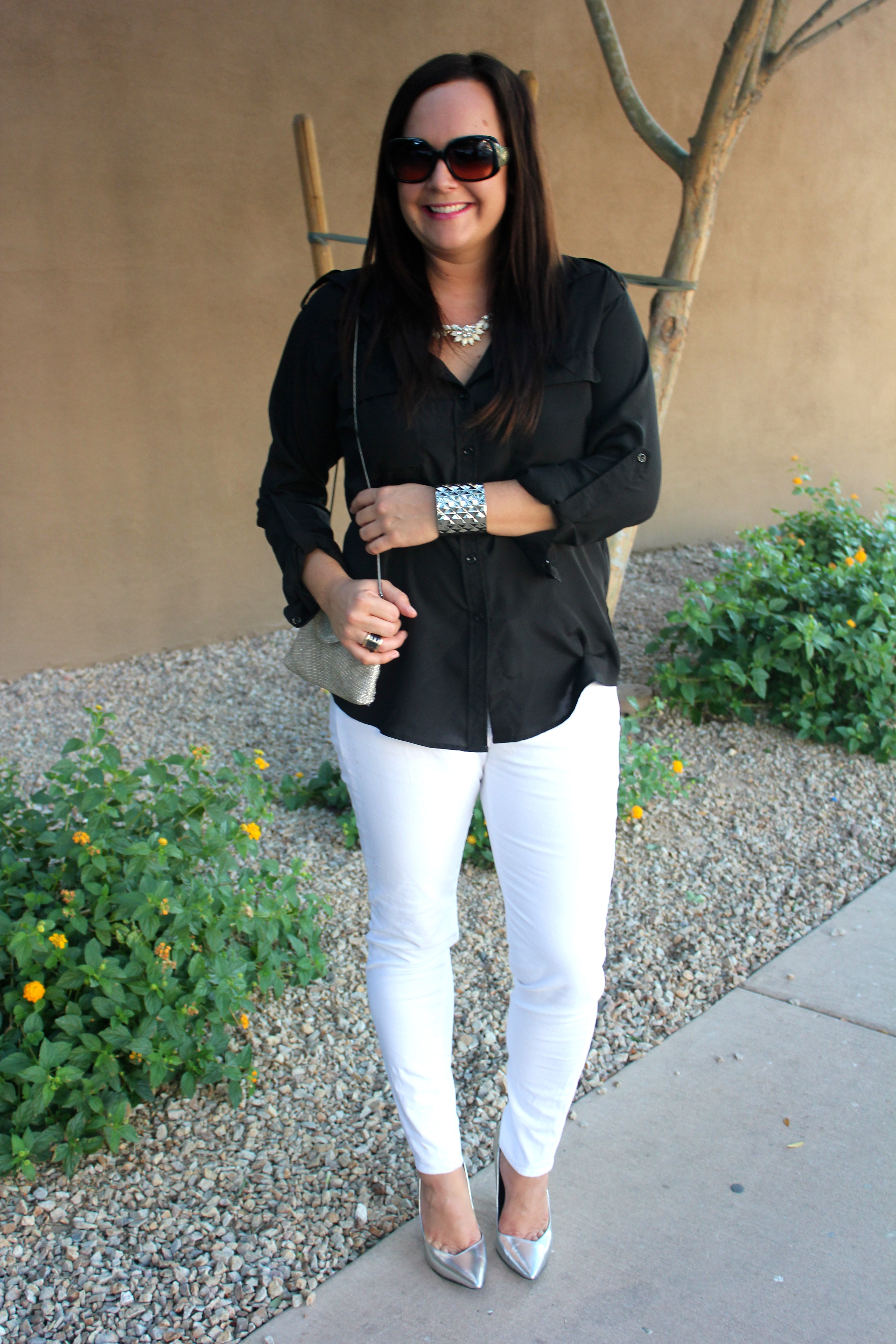 metallic shoes, black eight sixty blouse, white jeans, how to wear white jeans, amy black, amy's vintage coset