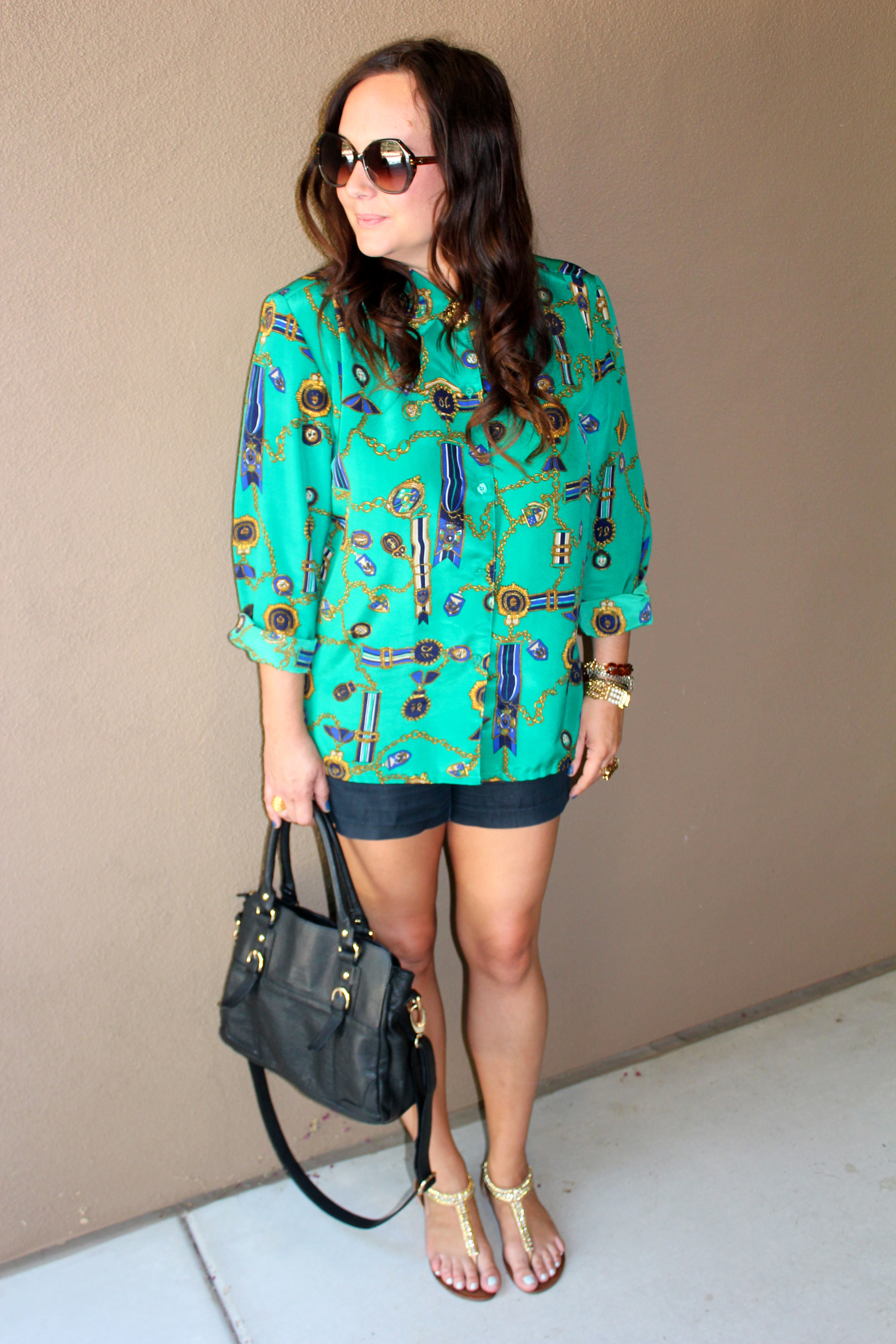 vintage blouse, amy's vintage closet, steve madden sandals, green and gold
